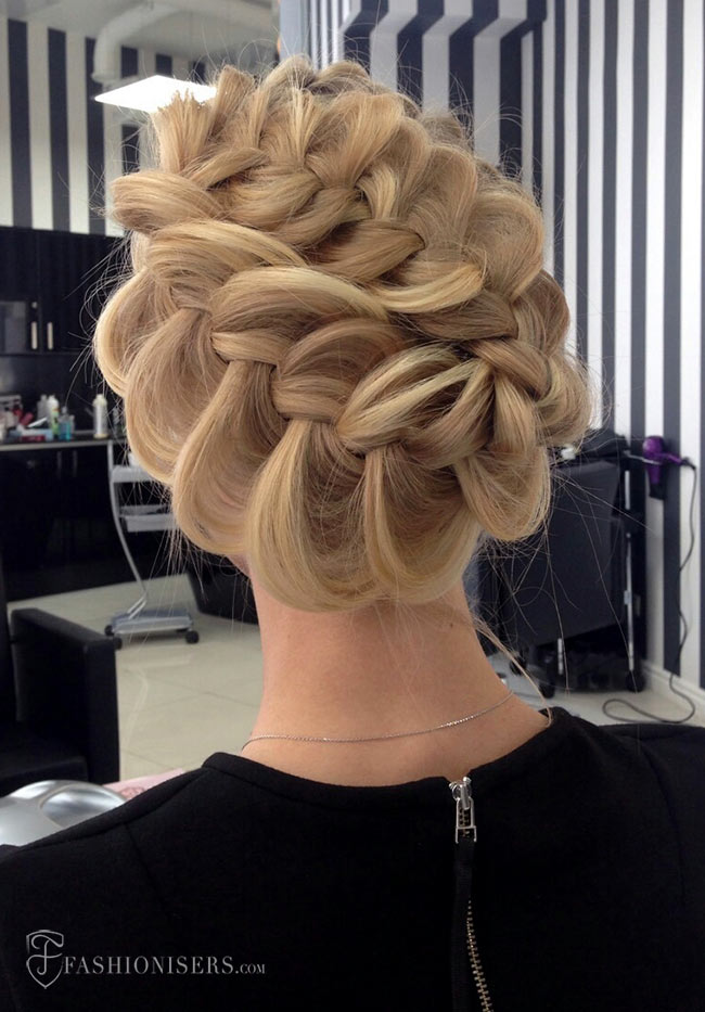 5 Pretty Braided Hairstyles for Prom: Double Braided Updo