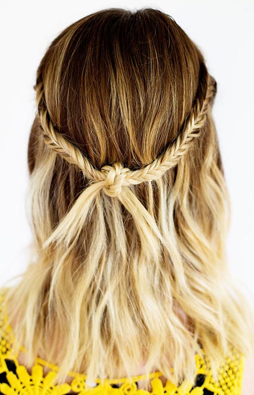 15 Killer Braided Hairstyles to Try for Coachella: Knotted Fishtail Braids
