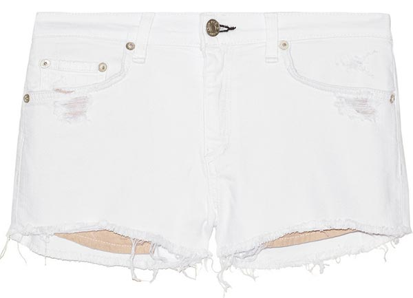 Summer 2015 Trendy Denim Shorts: Rag & Bone White Denim Shorts