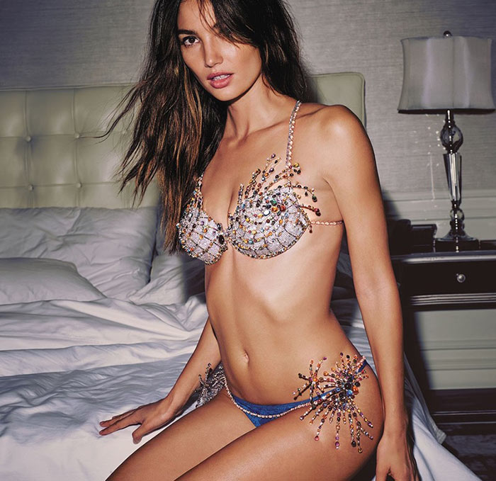 Lily Aldridge Wearing Victoria's Secret Fireworks Fantasy Bra