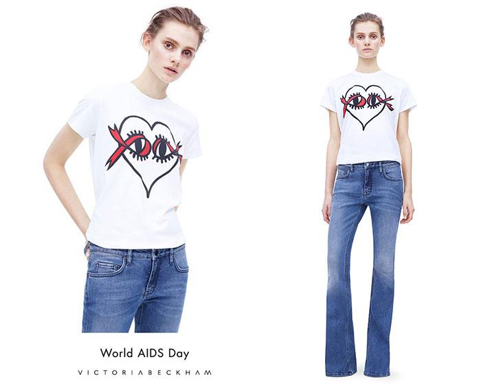 Victoria Beckham World AIDS Day T-Shirt,
