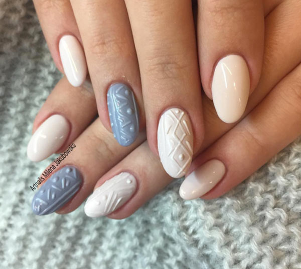 Cable Knit Sweater Nail Art Designs