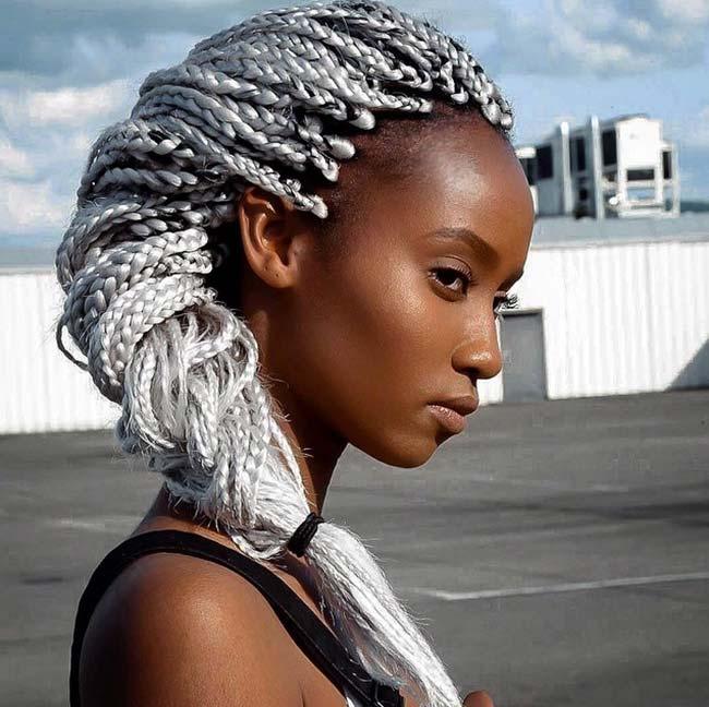 Awesome Box Braids Hairstyles: Long Silver Grey Box Braids