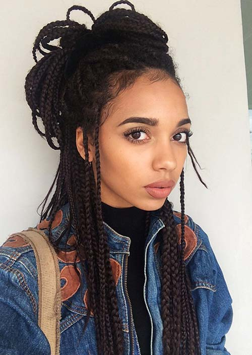 Awesome Box Braids Hairstyles: Top Knot Box Braids