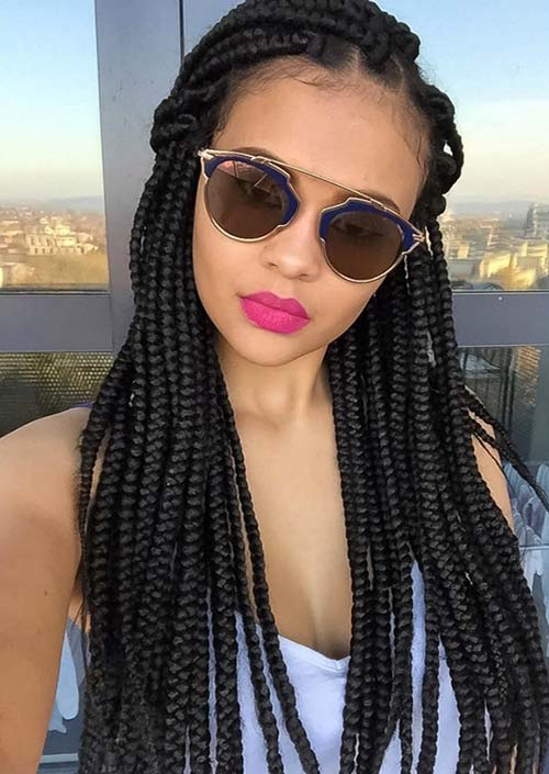Awesome Box Braids Hairstyles: Side Part Box Braids