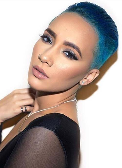 Short Hairstyles for Women: Blue Buzzcut