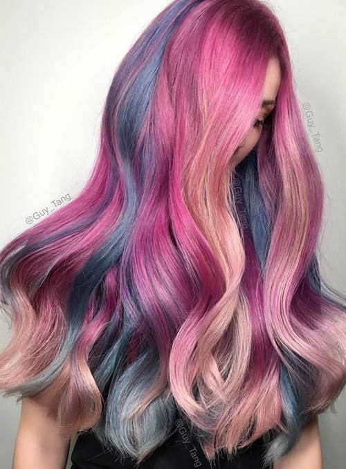 Pastel and Neon Hair Colors in Balayage and Ombre: Mermaid Hair