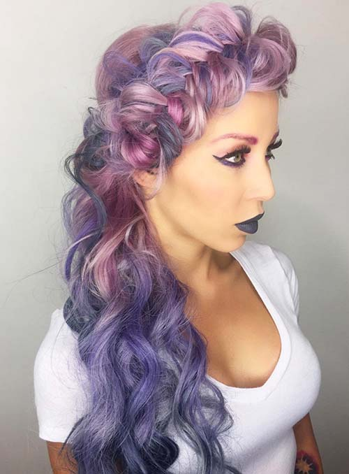 Pastel and Neon Hair Colors in Balayage and Ombre: Lilac Hair