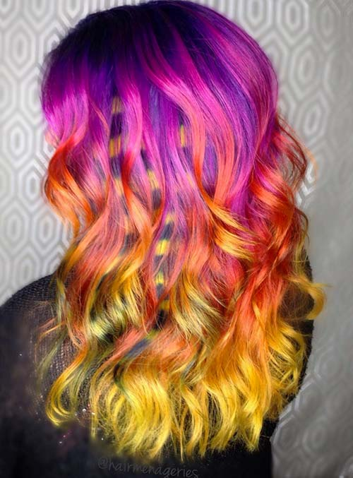 Pastel and Neon Hair Colors in Balayage and Ombre: Fire Neon Hair