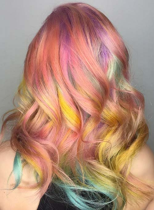 Pastel and Neon Hair Colors in Balayage and Ombre: Peach Hair