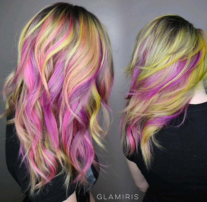 Pastel and Neon Hair Colors in Balayage and Ombre: Yellow Pink Balayage Hair