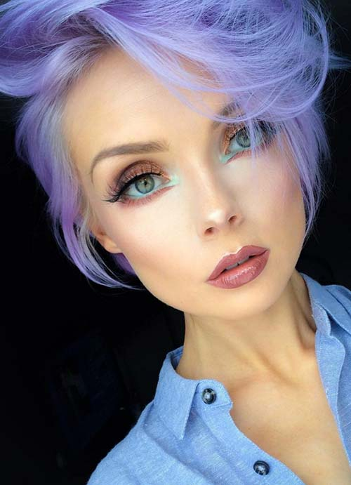 Short Hairstyles for Women with Thin/ Fine Hair: Purple Pixie