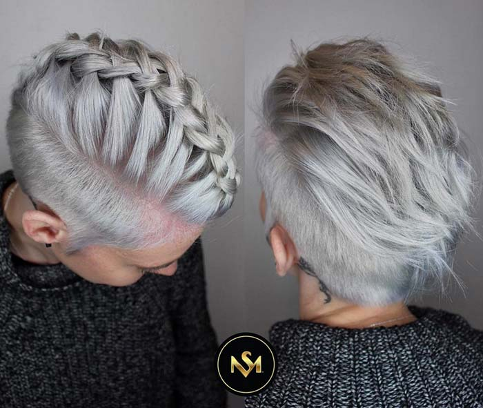 Short Hairstyles for Women with Thin/ Fine Hair: Braided Pixie