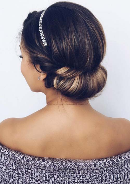 100 Trendy Long Hairstyles for Women: Flipped Low Bun