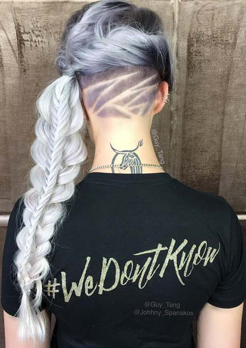 100 Trendy Long Hairstyles for Women: Long Braid With Undercut Hair Tattoo