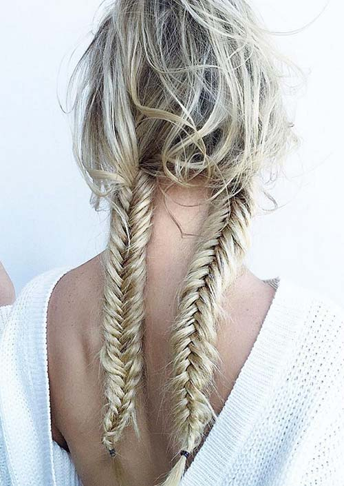 100 Trendy Long Hairstyles for Women: Double Fishtail Braids