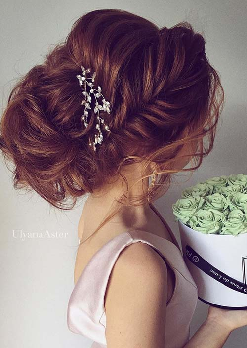 100 Trendy Long Hairstyles for Women: Fishtail Braid Loose Updo