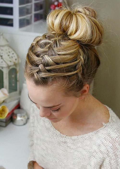 100 Trendy Long Hairstyles for Women: Triple Braid French Bun