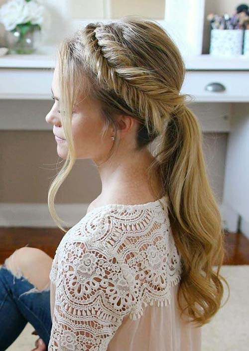 100 Trendy Long Hairstyles for Women: Fishtail Crown Ponytail