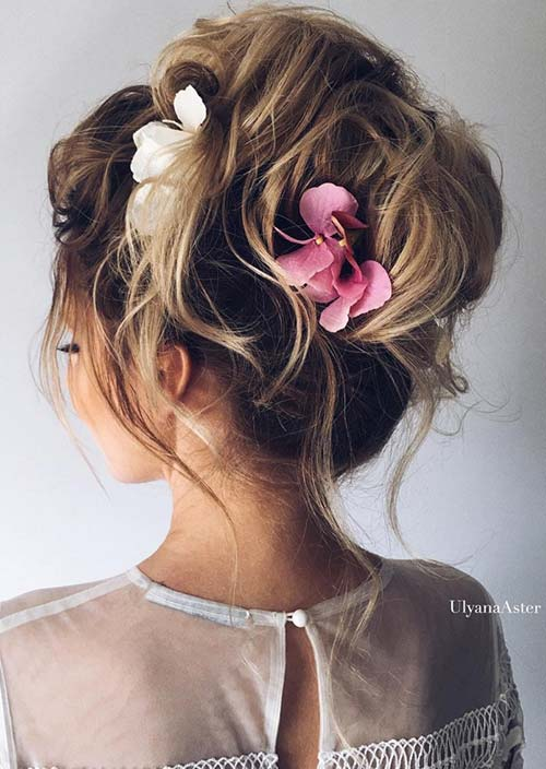 100 Trendy Long Hairstyles for Women: Loose Updo With Flowers