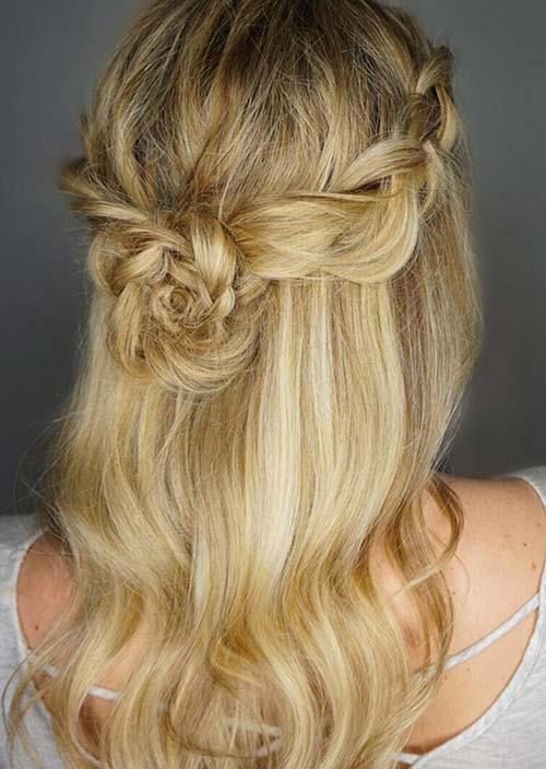 100 Trendy Long Hairstyles for Women: Half Up Braid Crown