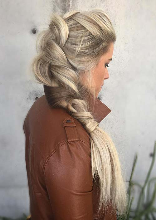 100 Trendy Long Hairstyles for Women: Full Side Braid
