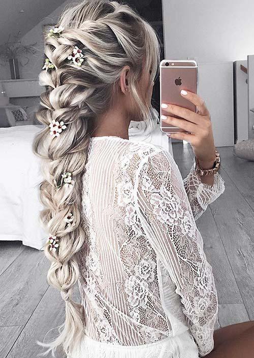 100 Trendy Long Hairstyles for Women: Flower-Embedded Braid