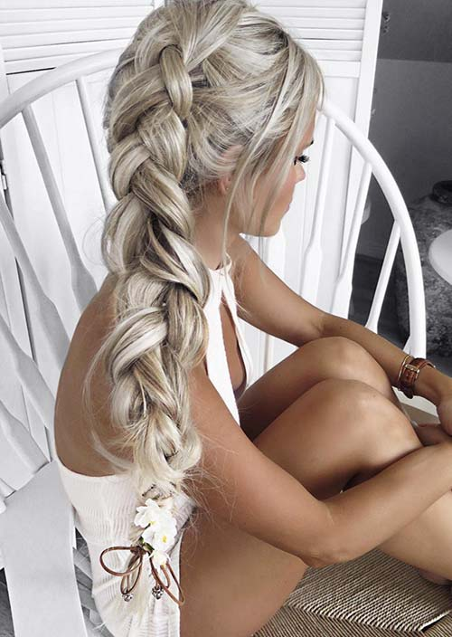 100 Trendy Long Hairstyles for Women: Thick Side Braid