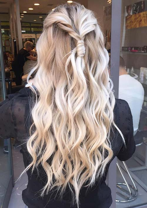 100 Trendy Long Hairstyles for Women: Messy Knotted Twist