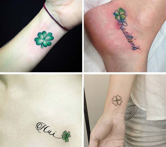 Cute Small Tattoos For Girls With Their Meanings: Tiny 4 Leaf Clover Tattoos