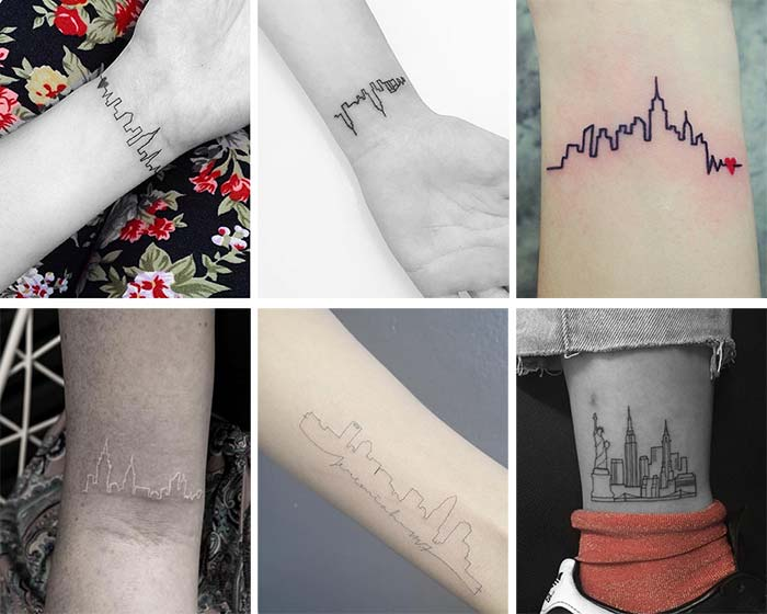 Cute Small Tattoos For Girls With Their Meanings: Tiny City Skyline Tattoos