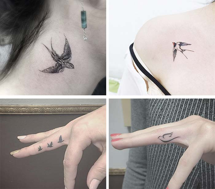 682846b8cc569 Cute Small Tattoos For Girls With Their Meanings: Tiny Swallow Tattoos