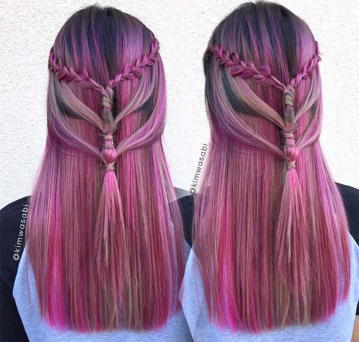 100 Ridiculously Awesome Braided Hairstyles: Triple Braided Half Updo