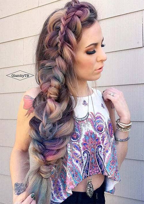 100 Ridiculously Awesome Braided Hairstyles: Stacked Side Braid