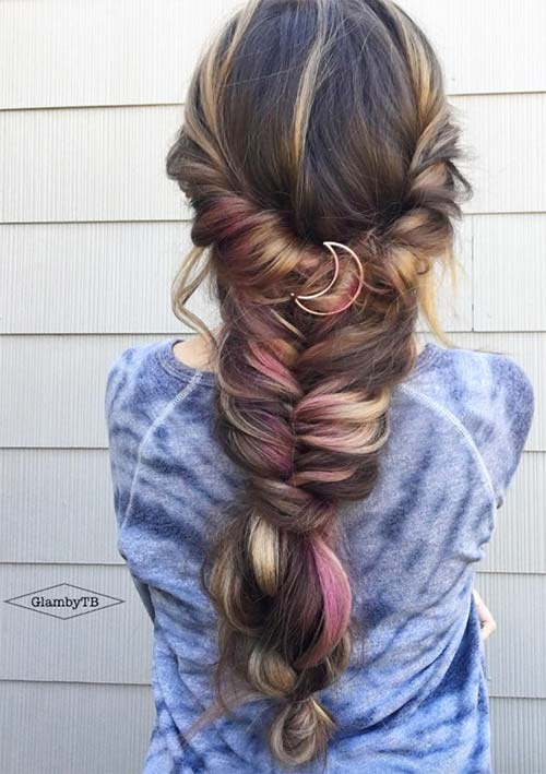 100 Ridiculously Awesome Braided Hairstyles: Accessorized Chunky Braids