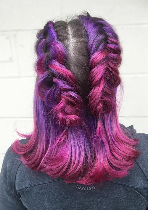 100 Ridiculously Awesome Braided Hairstyles: Double Fishtail Braids