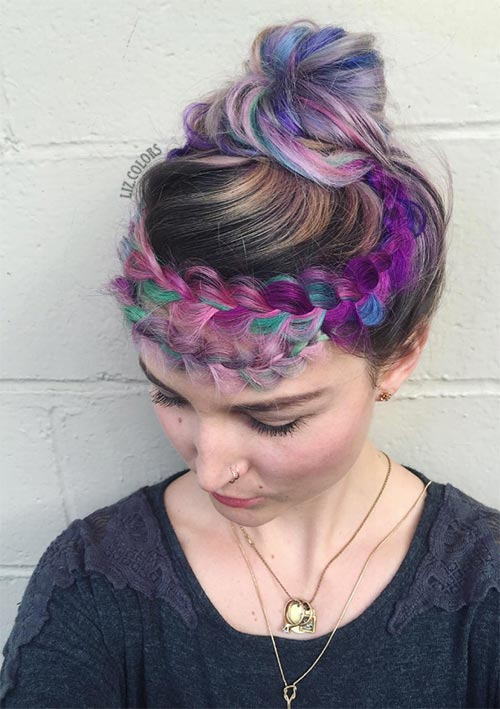 100 Ridiculously Awesome Braided Hairstyles: Rainbow Crown Braid