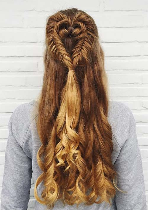 100 Ridiculously Awesome Braided Hairstyles: Heart-Shaped Fishtail Braid