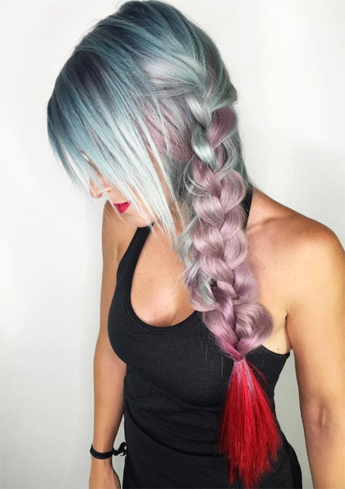 100 Ridiculously Awesome Braided Hairstyles: Ombre Side Braid