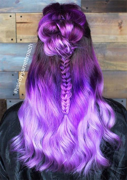 100 Ridiculously Awesome Braided Hairstyles: Purple Half-Up Braids