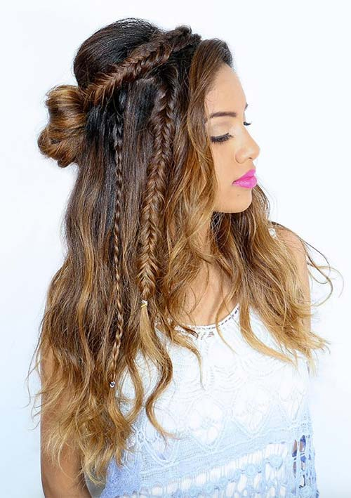 100 Ridiculously Awesome Braided Hairstyles: Textured Braided Half-Up Hair