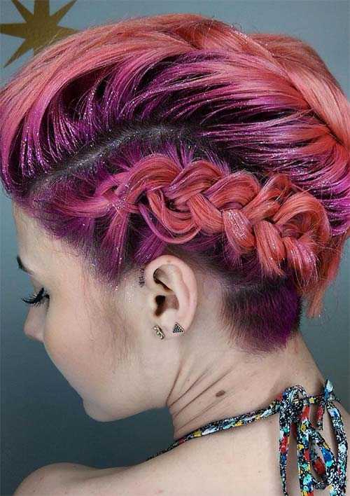 100 Ridiculously Awesome Braided Hairstyles: Glitter Undercut Braided Hair