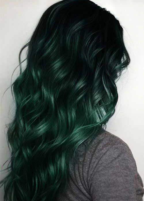 Dark Hair Colors: Deep Green Hair Colors