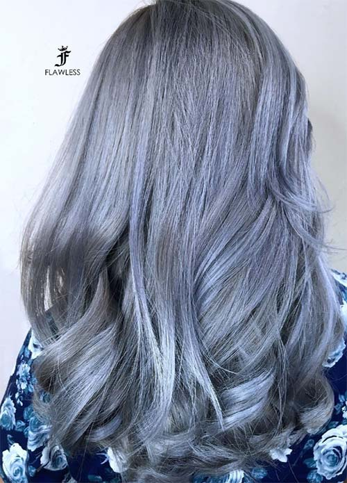 Blue Denim Hair Colors: Silvery Purple Denim with Curled Ends