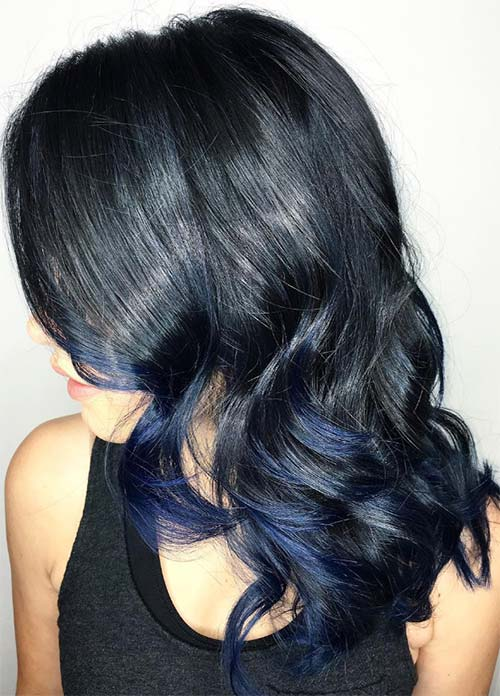 Blue Denim Hair Colors: Midnight Tousle