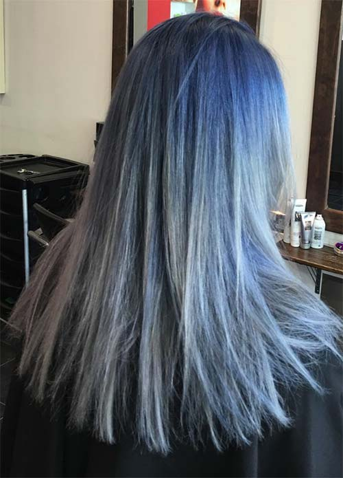 Blue Denim Hair Colors: Straight-edge Denim Balayage