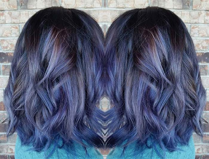 Blue Denim Hair Colors: Denim on Brown Textured Curls