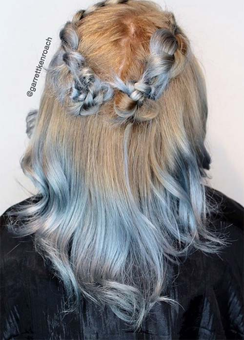 Blue Denim Hair Colors: Denim & Ash Crown Braid Ombre