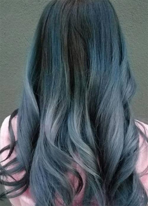 Blue Denim Hair Colors: Smokey Princess Waves