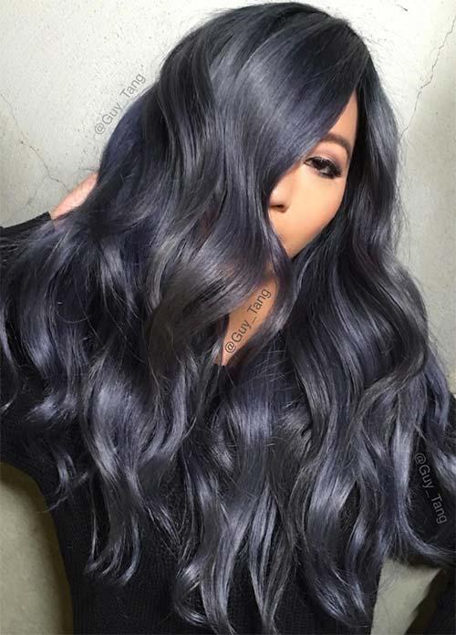 Blue Denim Hair Colors: Vampy Denim Curls